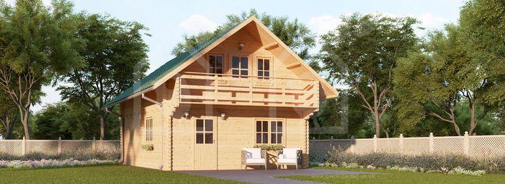 Residential log cabin LANGON 66mm, 107m²