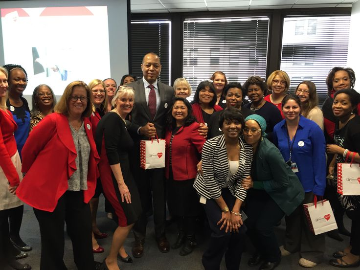 WomenHeart CEO Mary McGowan, Scientific Advisory Council Member Dr. Annabelle Volgman, and WomenHeart Champion @suerc at BlueCross Blue Shield in Chicago, IL, giving a WomenHeart @ Work presentation to employees to teach them about heart health in the workplace.