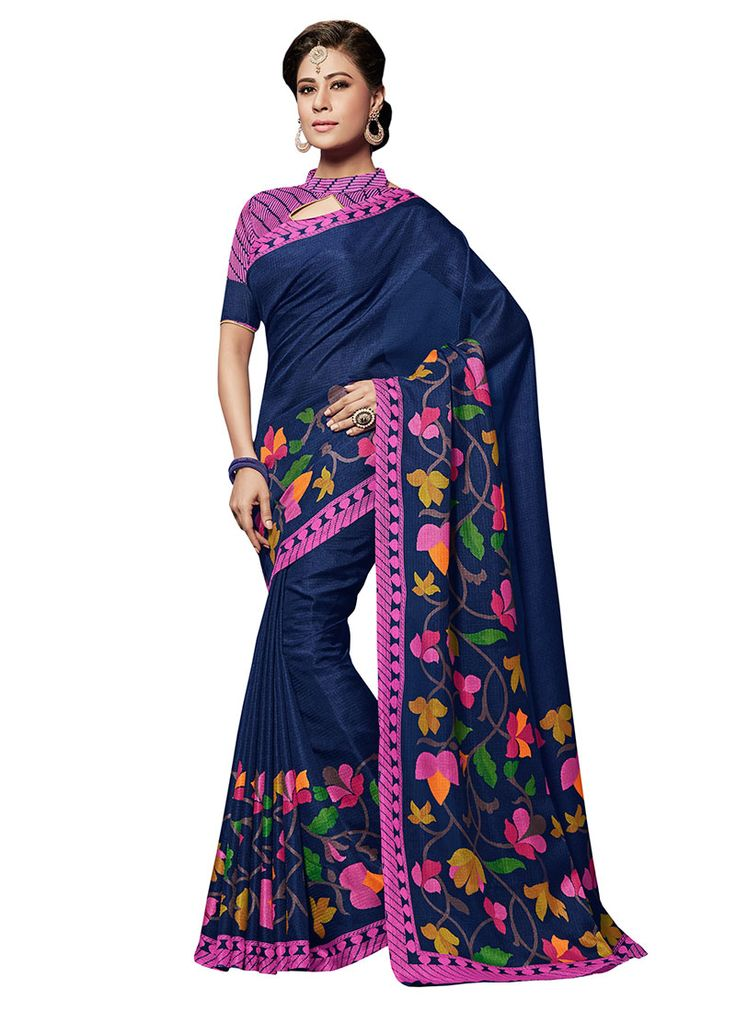 Buy Navy Blue Bhagalpuri Art Silk Saree online from the wide collection of sari.  This Blue colored sari in Art Silk fabric goes well with any occasion. Shop online Designer sari from cbazaar at the lowest price.