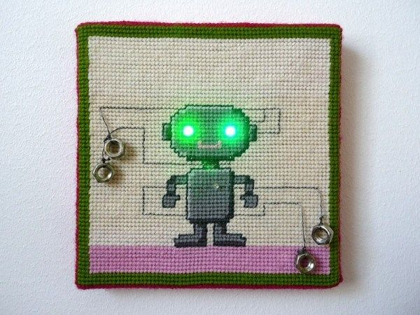 LED needlepoint robot from Make magazine. It's geek and a craft day!