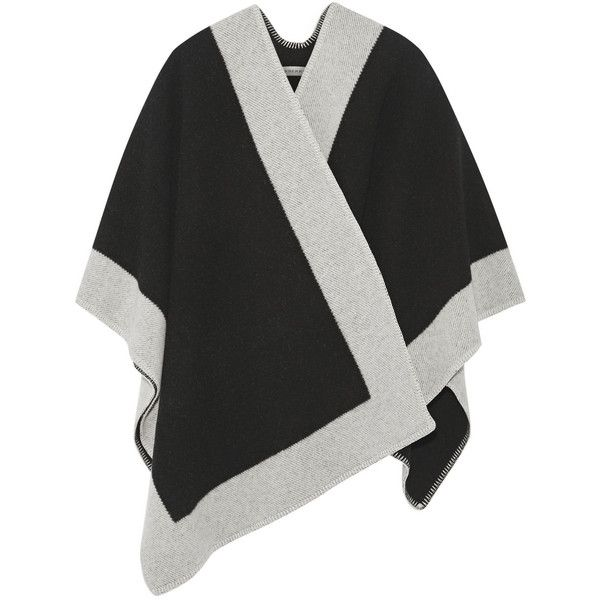 Burberry London Wool and cashmere-blend poncho (€1.245) ❤ liked on Polyvore featuring outerwear, cape, cardigans, coats, black, poncho cape coat, black wool poncho, wool poncho, burberry poncho and cape coat