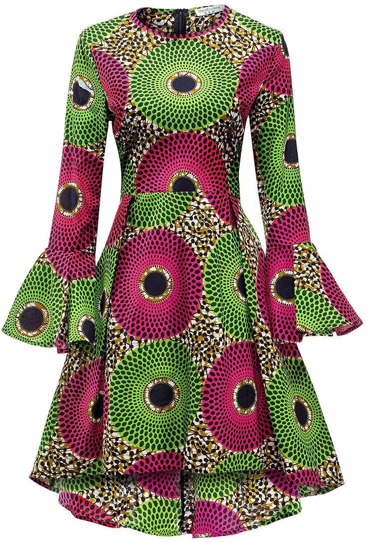 Shenbolen Women African Print Dresses Autumn and Winter Long Sleeves Ankara Dress(Small, multicolored) at Amazon Women's Clothing store: