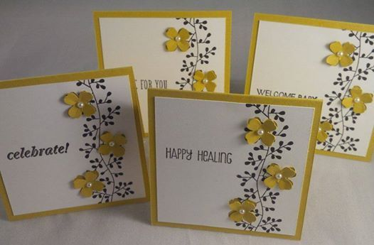 Stampin up bordering blooms mini 3x3 cards by Gloria Kremer - Girlfriend Originals on Facebook. Perfect teacher gifts.