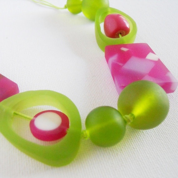 Lime & Raspberry surprise necklace Chunky resin by stratdesigns, $50.00