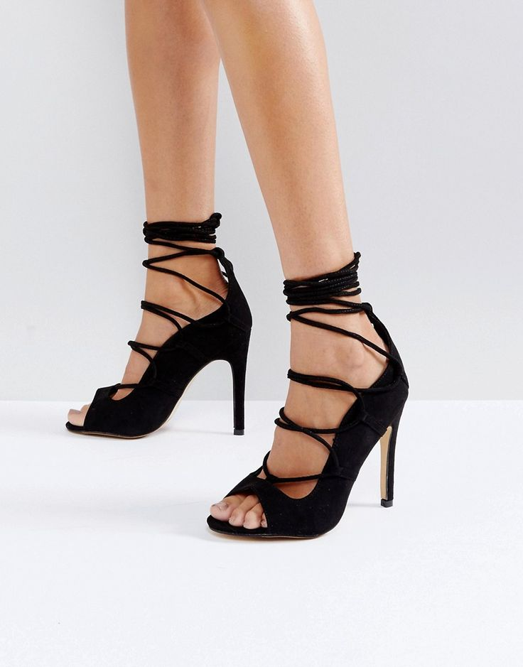 Truffle Collection Tie Up Skinny Heel Sandal - Black