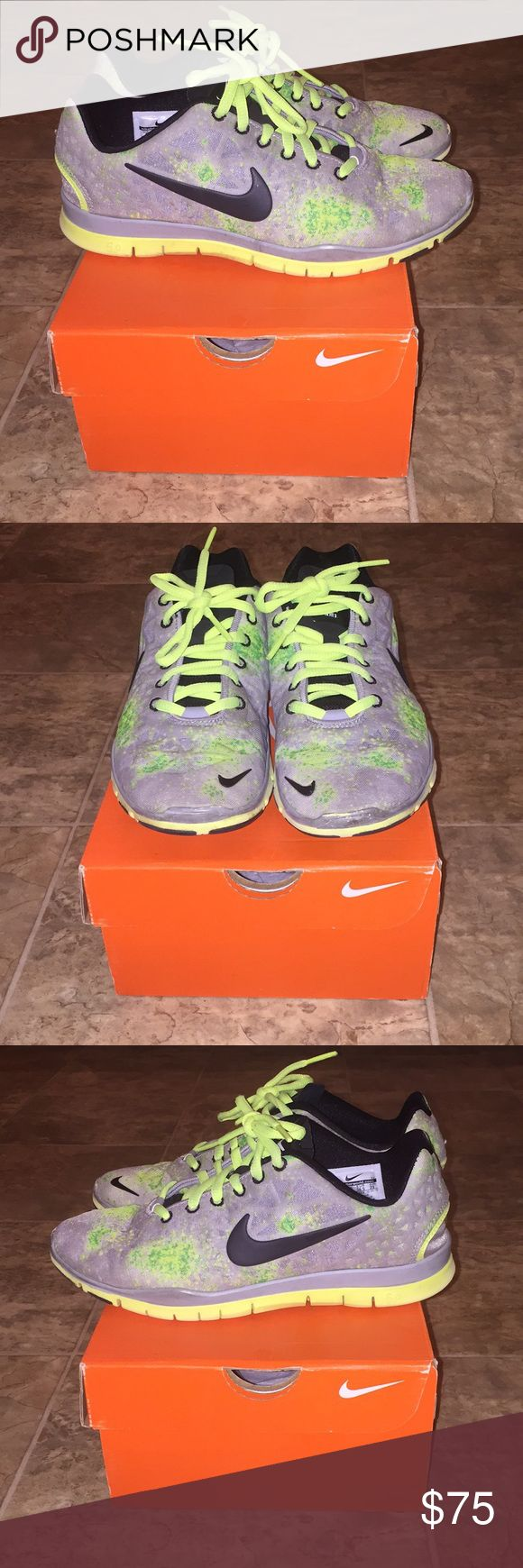 Women's Nike Free TR Sneakers Women's Nike Free TR Fit Training Sneakers. Women's Size: 6 | Color: Stadium Grey/Black/Volt | Condition: Great. These Nike training shoes are lightweight, comfy, and fashionable! They have a mesh upper, which also makes them very breathable. The color works for all seasons and adds a pop of color (volt/highlighter yellow) to athletic and casual ensembles. There's a small bend in the toes (pictured) that's much less noticeable when the shoes are on. Nike Shoes…