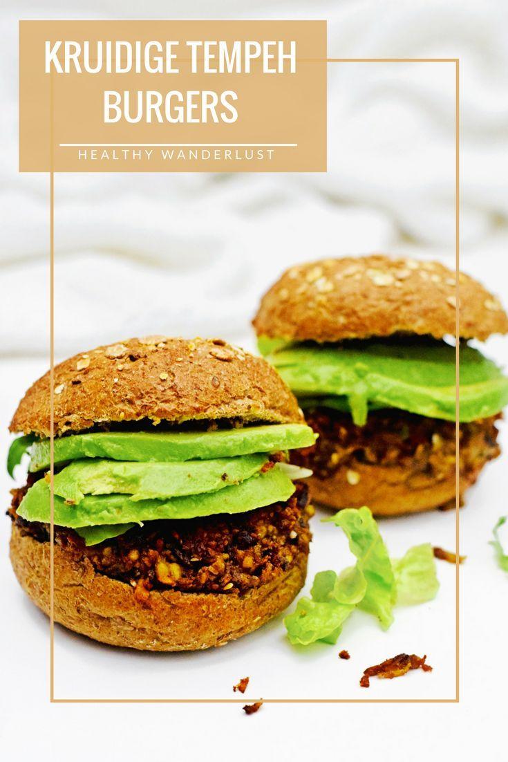 Het recept voor gezonde en vegetarische tempeh burgers - Meer informatie vind je op www.HealthyWanderlust.nl   Inspiratie platform voor een gelukkig en gezond leven, voor vrouw, moeder en kind