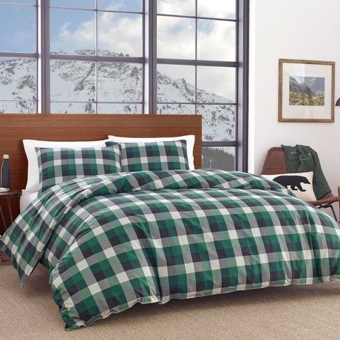 Birch Cove Plaid Duvet Cover Set Green - Eddie Bauer : Target