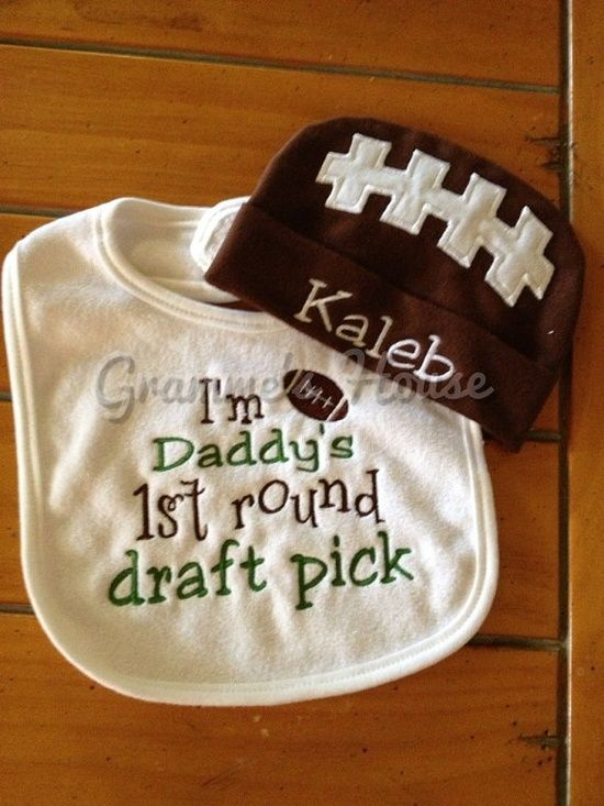 Infant Bib and Infant Cap Set Baby Boy football by grammeshouse, $20.00 #kids #kids_stuff