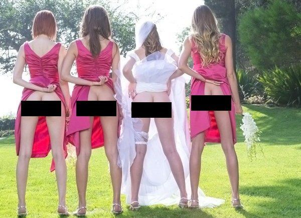The Latest Trend For Bridesmaids Is To Pull Up Their Dresses And Show Off Their Butts (Photos)
