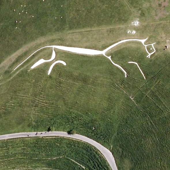 The Uffington White Horse, Oxfordshire, England  The 110m (374ft) long Bronze-Age geoglyph dates back to between 1400-600BC and is one of many white horses to be found on England's hillsides  (This still remains my favourite)