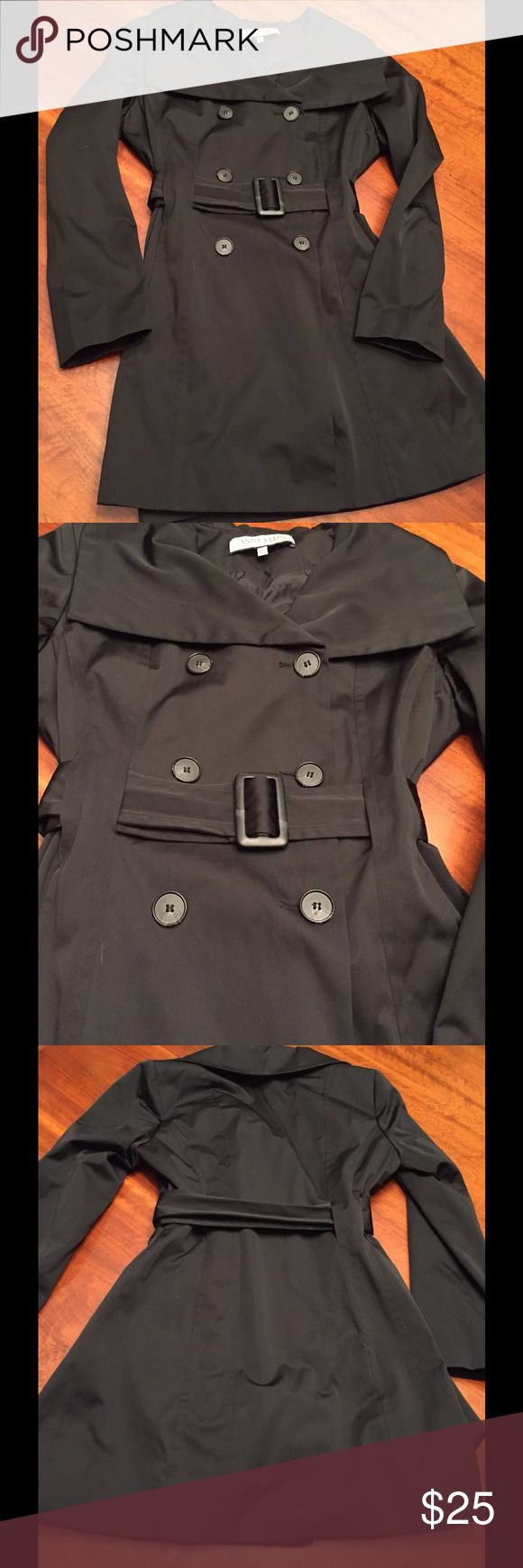 Anne Klein New York black coat- buttons +tie waist Anne Klein New York black coat, size medium. Six buttons - 3 decorative, 3 functional. Tie waist and wide collar. A-line silhouette. Lightweight coat - best for mild weather. Machine wash and line dry. Shell is 52% cotton and 48% polyester, lining is 100% nylon. Good condition - a few little spots that should come out in the wash. Anne Klein Jackets & Coats