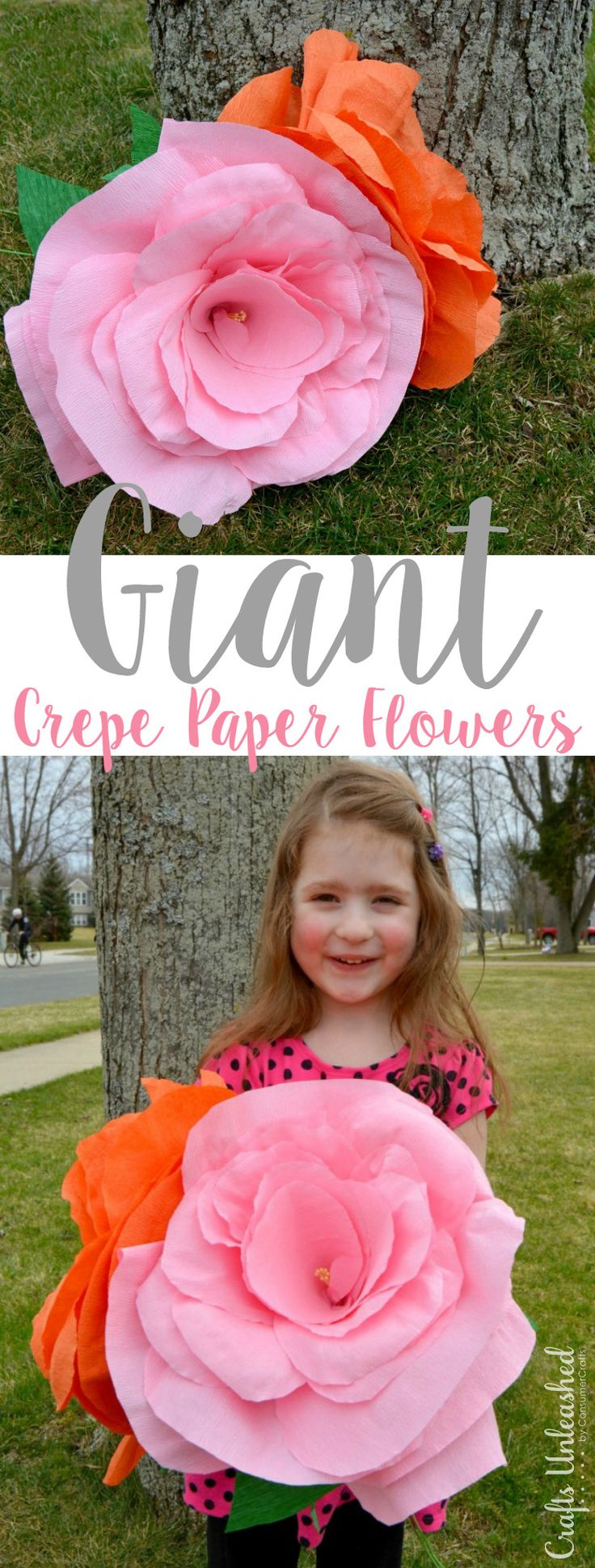 Learn how to make giant crepe paper flowers with this step by step tutorial. Perfect for weddings and party decor, photo props, unique gifts and more!