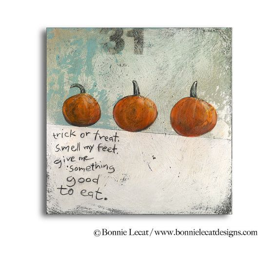 Trick or Treat Halloween Wall Decor Pumpkin Picture by bonnielecat