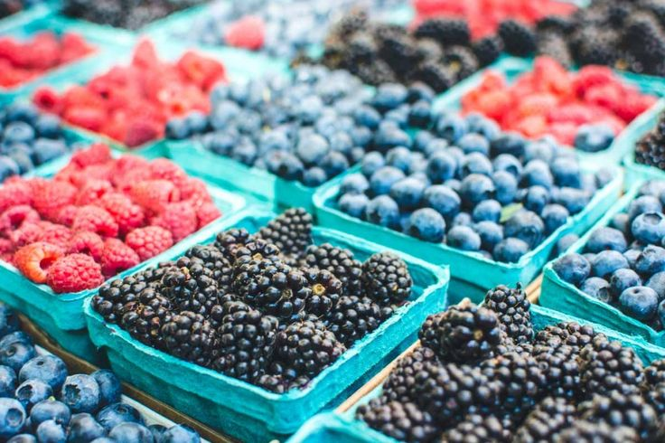 Healthy berries on a market