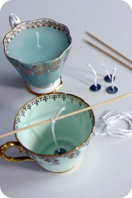 Tea Cup Candles- fantastic idea!  I like looking for tea cups at the thrift stores and antique malls.
