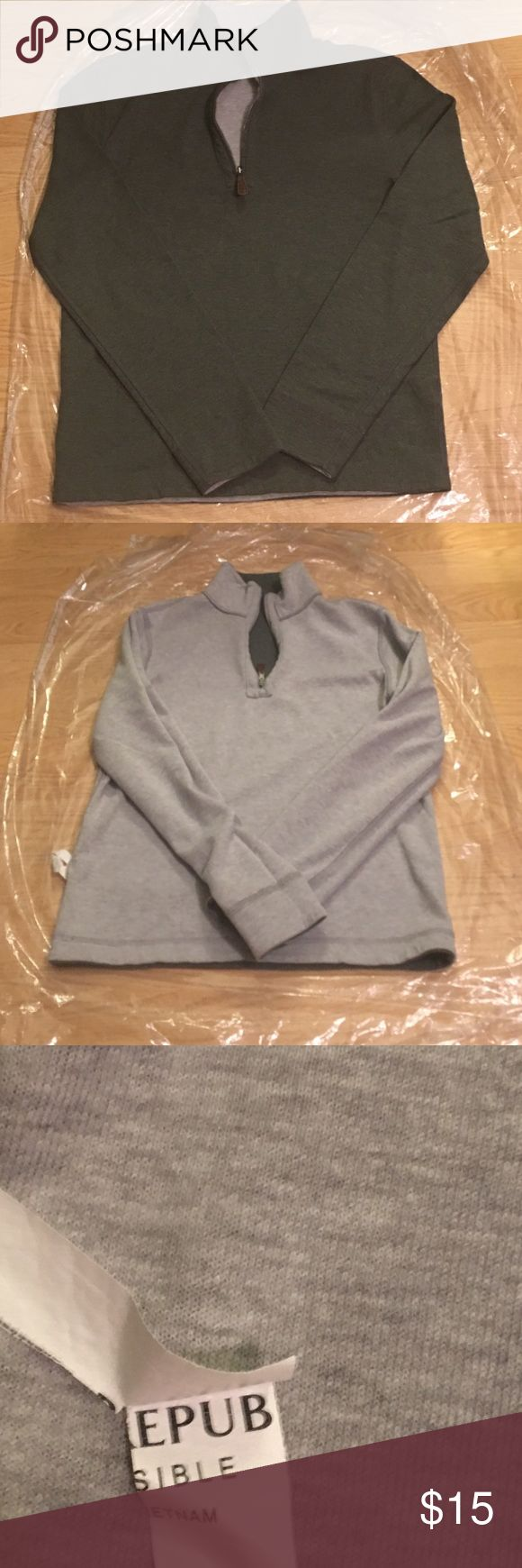 Reversible Banana Republic Small Quarter Zip All Cotton, incredibly comfortable and ultimately 2 half zips in one--Moss Green and Heather Grey. NEVER used grey side, as seen w/ partial BR label that remains. It's with noting the zipper has Banana Republic on it--that's rare w/ most of their clothing these days! Sweaters Zip Up