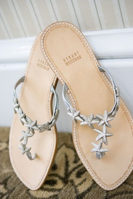 Starfish wedding flats / thongs / shoes / silver