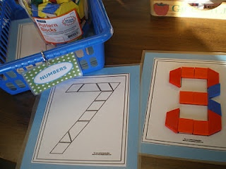 Ooh!! This is a great idea for my preschooler to do for her numbers with pattern blocks.