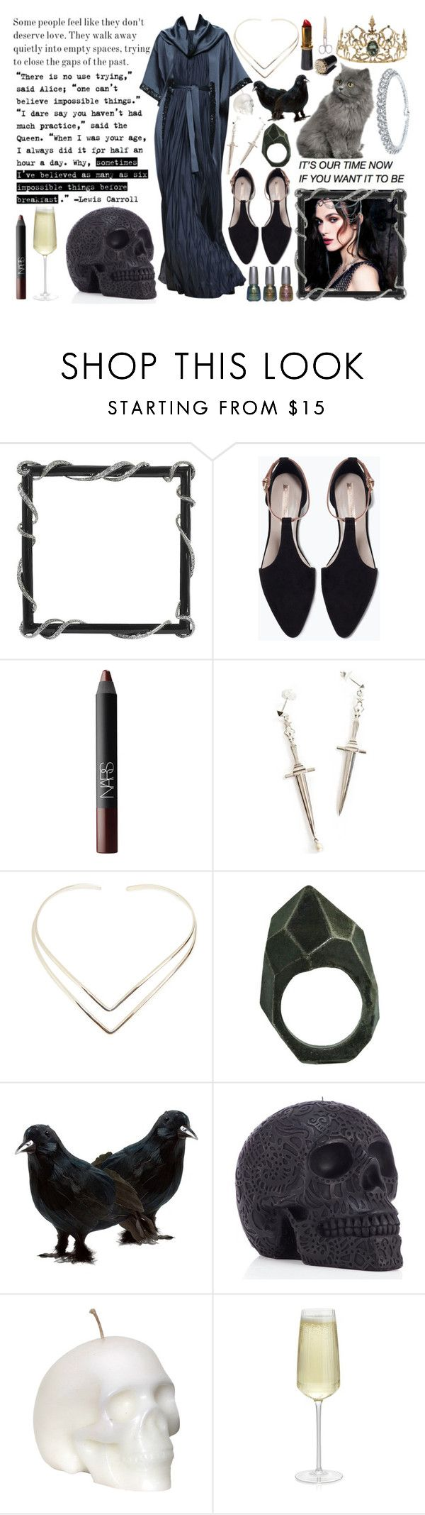 """""""506"""" by lizziestdrane ❤ liked on Polyvore featuring Zara, China Glaze, NARS Cosmetics, Pamela Love, Natalie B, Lady Grey, Once Upon a Time, Crate and Barrel and Bling Jewelry"""