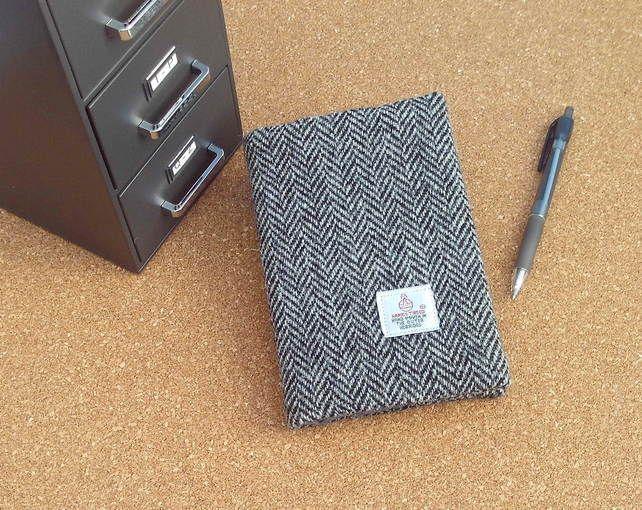 Harris tweed covered A6 size notebook grey herringbone fabric gift for men £12.50