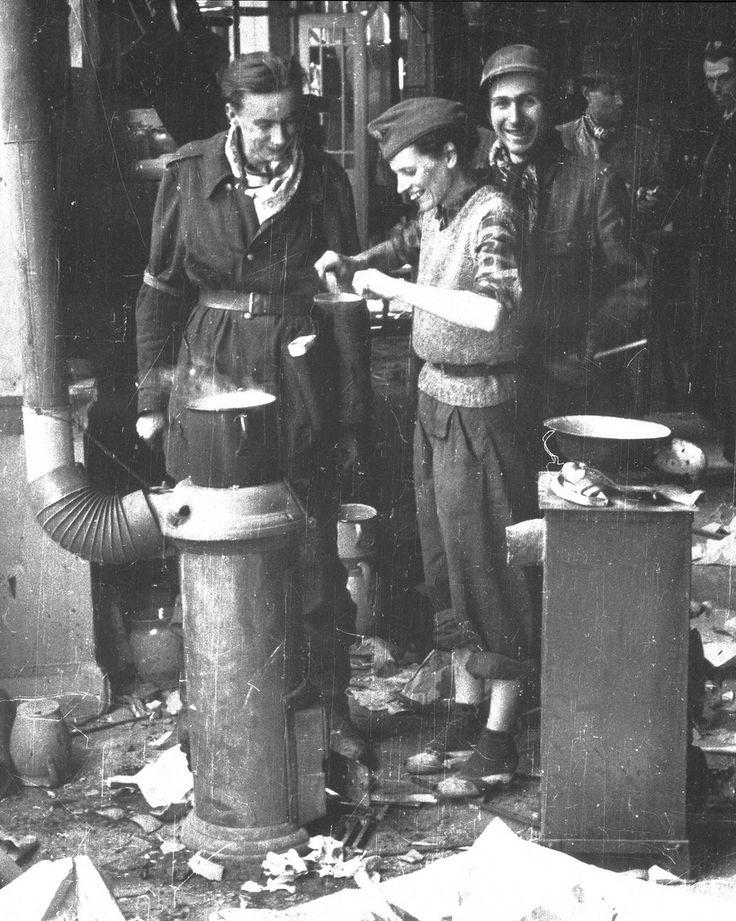 Warsaw Uprising  Polish partisans from the Koszta company taking a break....