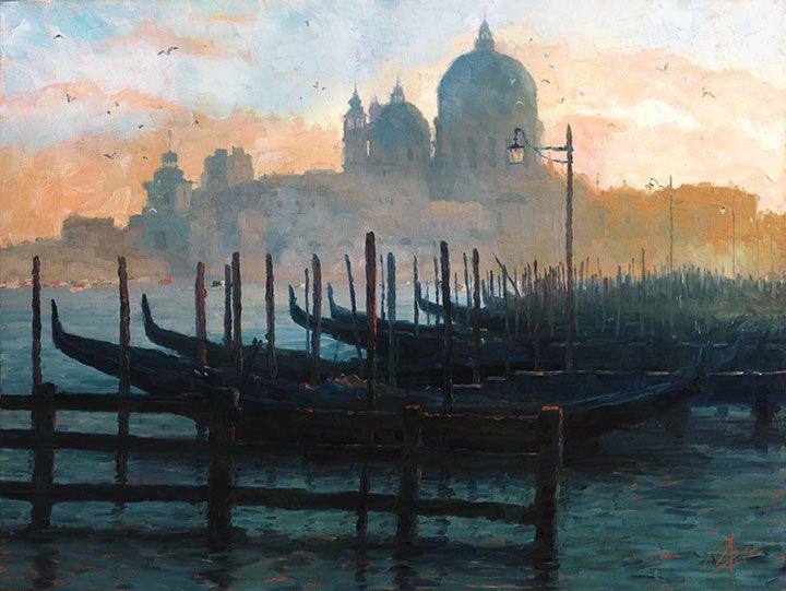 Venice,-Italy---Sunset-Gondolas - original oil Italy painting of Venice by artist Christopher Clark