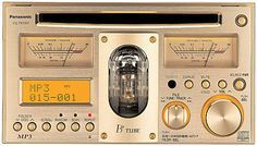 The Panasonic CQ-TX5500D is the only car stereo that we know of that features a built-in vacuum tube amplifier for all the retro-sounding overtones you so desperately desire. It plays CD, CD-R, CD-RW and MP3 discs, and emits an orange glow that you can see through the middle window when you're rocking out. It also sports old school meters that have needles instead of LEDs ;D Winner!