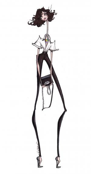 Jamie Lee Reardin's sketch beautifully captures Cathy Pill's classic chic style. SHOP CATHY's LOOKS ON MUSESTYLE
