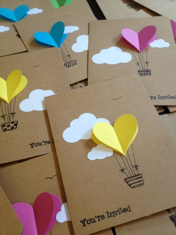 Hot Air Balloon Cards – Balloon Heart Invitation with Envelope – Handmade Cards – Paper Crafts – Heart Invitations – Party Notes