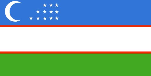 Uzbekistan Flag ~ The flag of Uzbekistan was officially adopted on November 18, 1991.           The flag features a new moon symbol and one white star for every month of the year. The blue is representative of water and sky; white represents peace; green represents the fertile land, and the two red stripes are symbolic of the people.