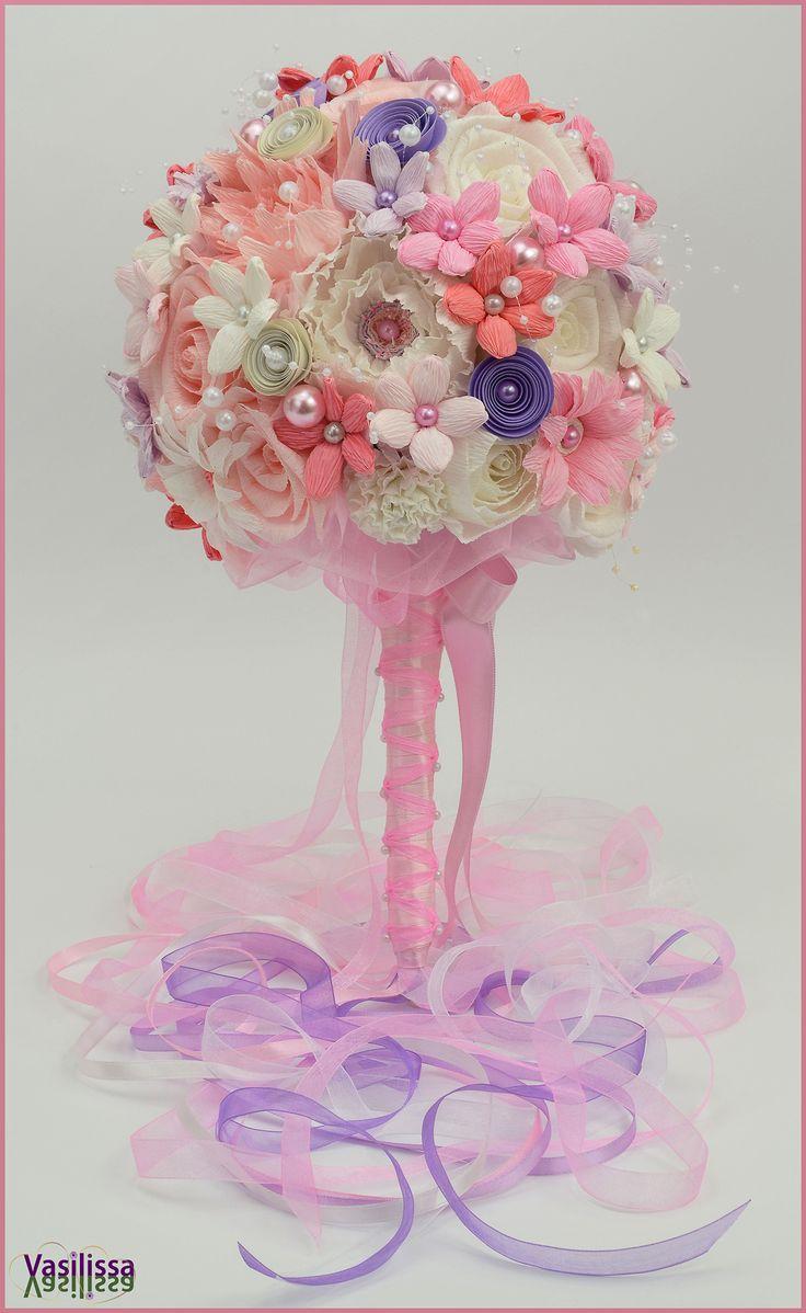 Vasilissa unikatni bidermajer od papira BARONESSA -  bela, svetlA nijanse lila, roze i kajsija sa mnogo bisera, trakica i tila... romantičan, ženstven, od sitnih cvetova raskošno satkan i nežan... :-)