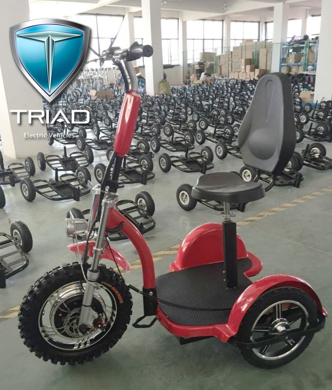 electric scooters for adults, electric scooters for sale, 3 wheel scooters for adults, 2017 Triad 750 XL with knobby tire and aluminum diamond plate foot platform. 3 speeds, 5/12/25 mph. 350 lb capacity, independent front suspension, disc front brake, dual rear brake, reverse, headlight tail light and brake light. Folding neck, removable seat and post. The lightest weight and most powerful vehicle in its class at just 83 lbs with seat removed. Charges in under 4 hours up to 25 miles per…