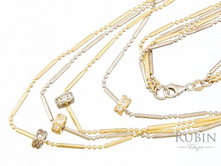 Cirkónia köves bikolor ezüst nyaklánc