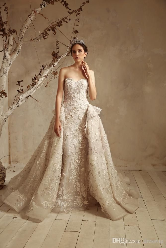 9c0dede93fb Tony Ward 2019 Mermaid Wedding Dresses With Detachable Train Sweetheart  Gorgeous Women Vestido De Novia Lace Appliques Beach Wedding Dresses