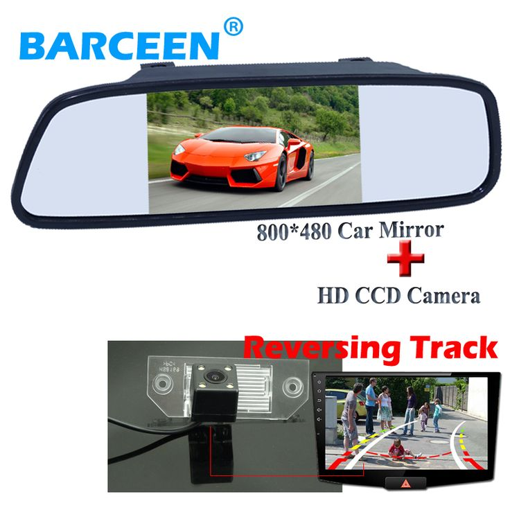 """wire black 5"""" car mirror monitor and 170 degree 4 led car auto backup camera hd ccd+Dynamic track line  for ford focus sedan"""