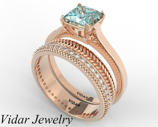 Princess Cut Aquamarine Wedding Ring SetUnique by Vidarjewelry, $2450.00. I wish I wore rings more cause this is beautiful and my birthstone!