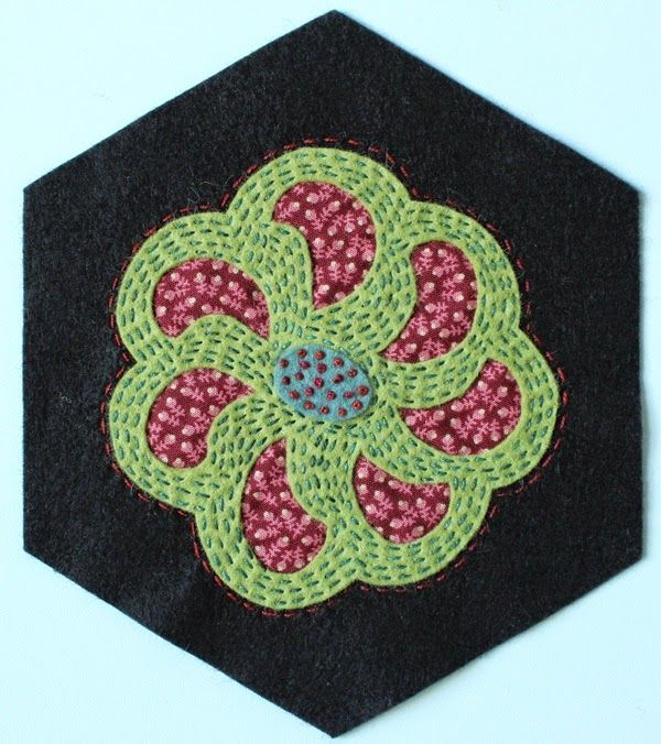 Fellowship of the Flowers week 31 and our July project! Folk Art Fusion, reverse wool applique, michelle may