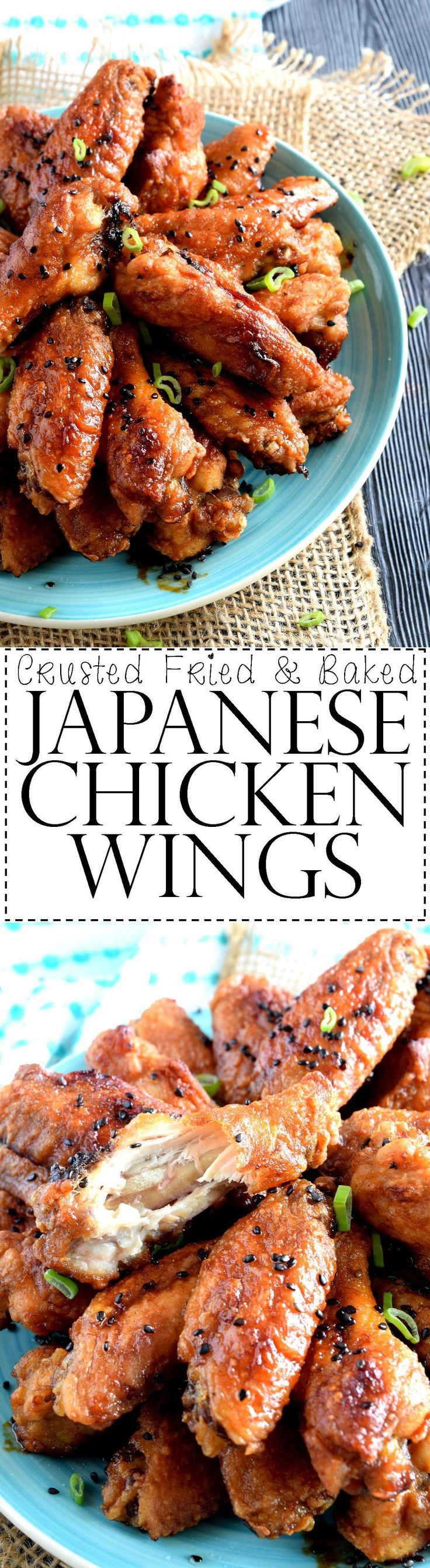 Crusted Fried and Baked Japanese Chicken Wings - Both fried and baked, these sweet and salty Japanese Chicken Wings are super moist and tender on the inside with a golden crispy crust on the outside. Impress your guests with this delicious and gorgeous wing recipe!