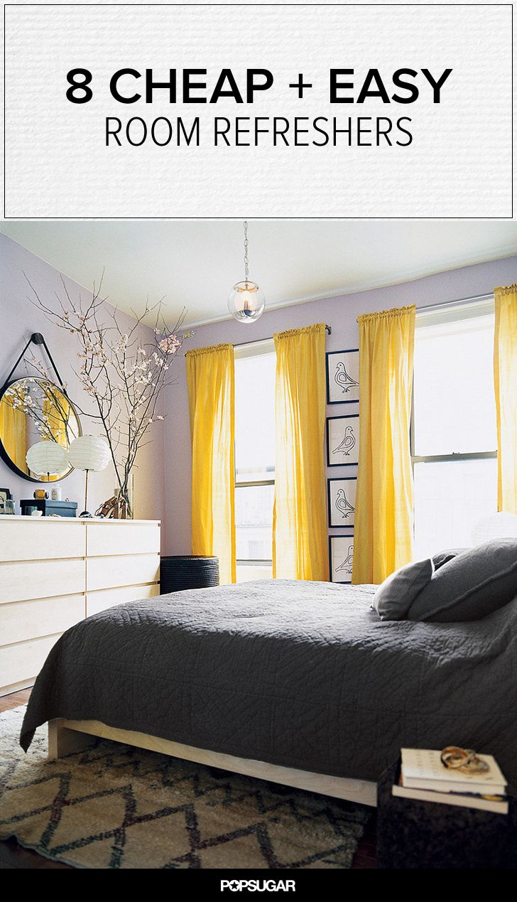 Bright yellow curtains add a pop of