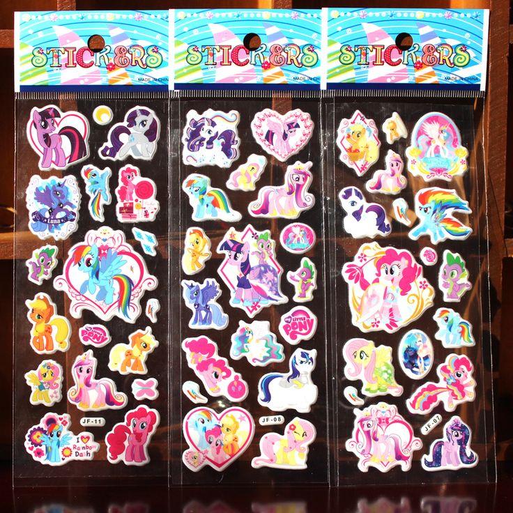 6 Fogli Mio Pony adesivi per i bambini A Casa decorazione della parete sul computer portatile del fumetto Pony mini 3D della decalcomania frigo skateboard doodle