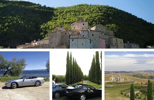 """Ein spektakulärer Borgo in den Hügeln Umbriens, mit dem Cabrio am Bolsenasee im Lazio, Transaxle-Friends im """"La Sovana"""". Ein spezieller Platz: Teatro del Silenzio."""