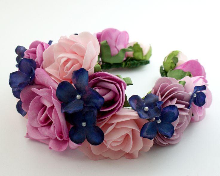 Hoofdband met bloem / Bloemen diadeem van Lola White op DaWanda.com