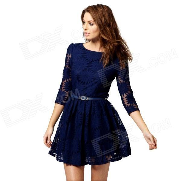 Women's Stylish Jacquard Weave Sunflower Pattern Lace Dress w/ Waist Belt - Blue (L) US$17.48