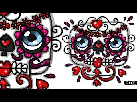 How To Draw A Sugar Skull - Mexican Skull by Garbi KW