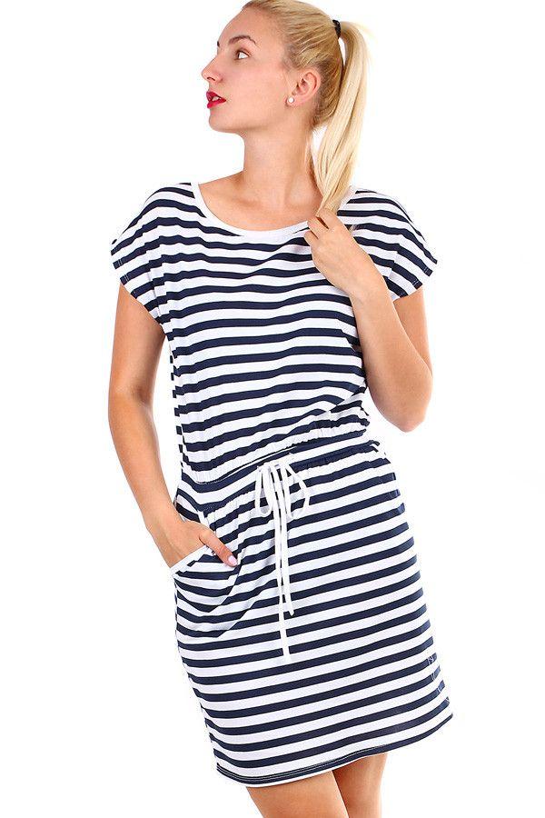 1208145426b Bavlněné dámské krátké pruhované šaty - koupit online na Glara.cz