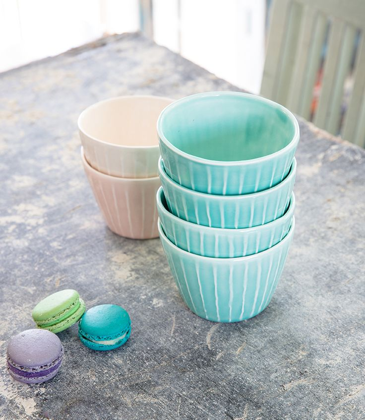 Holiday SALE 15% Off, Turquoise Ceramic Serving Bowls Set, Pink Handmade Striped Ceramic Vessels, Ice Cream Pottery Bowls, Christmas Gift