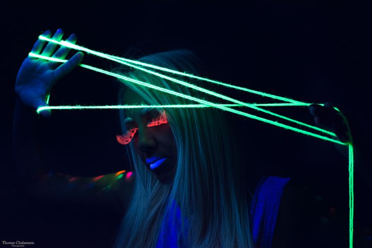 Makeup art with black light. Photoshooting in Athens city, Greece.