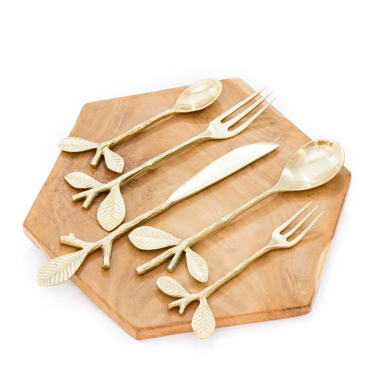 Brass Twig Leaf Cutlery Set - Nature Inspired Cutlery - Branch Leaf Flatware - Fork, Spoon, Knife, Small Spoon, Small Fork by MyCupOfLove on Etsy https://www.etsy.com/ca/listing/460615106/brass-twig-leaf-cutlery-set-nature