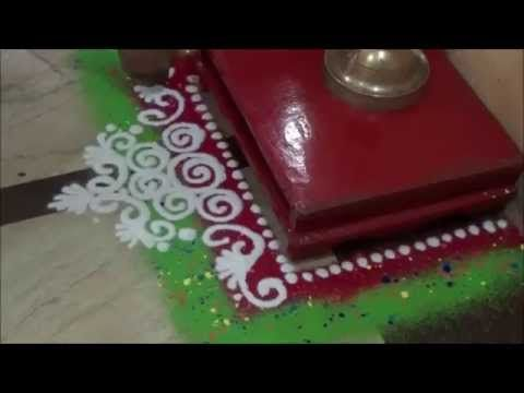 Learn rangoli : Puja rangoli Simple rangoli design Rangoli Art - YouTube